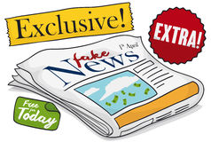 Newspaper with Fake News with Labels for April Fools` Day, Vector Illustration. Design with fake news in newspaper and labels for funny pranks in April Fools` Stock Images