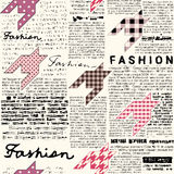 Newspaper fashion background. Imitation of retro newspaper background with the inscription of Fashion and sharpes of hounds-tooth elements.. Seamless pattern Royalty Free Stock Photos