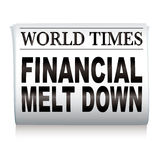 Newspaper financial. Financial credit crisis newspaper headline on white illustrated paper Royalty Free Stock Photo
