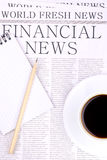 Newspaper FINANCIAL NEWS. Top view Royalty Free Stock Photos