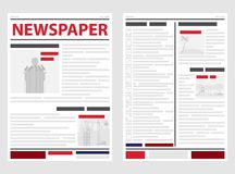 The newspaper, the first and last pages of the newspaper. News line, news. Flat design,  illustration Stock Images