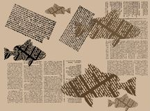 Newspaper fish. Abstract brown illustration with colored printed fish, and newspaper fragments Royalty Free Stock Photography