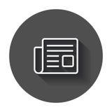 Newspaper flat vector icon. News symbol logo illustration on bla Royalty Free Stock Photo