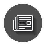 Newspaper flat vector icon. News symbol logo illustration on bla Royalty Free Stock Photos
