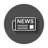Newspaper flat vector icon. News symbol logo illustration on bla Royalty Free Stock Image