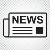 Newspaper flat vector icon. News symbol logo illustration. Busin Stock Photos