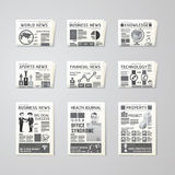 Newspaper daily flat vector set design template.business,health,. Education,technology and sport design Stock Photos
