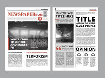 Newspaper front page with several columns and photos. Vector magazine cover. Layout design project Stock Photography