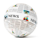 Newspaper on globe Royalty Free Stock Images
