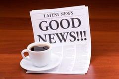 The newspaper GOOD NEWS!!! stock photos