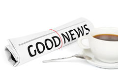 The newspaper GOOD NEWS. On white royalty free stock photos