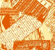 Newspaper Grunge Orange Stock Photography