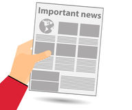 Newspaper in hand. Important news read in a newspaper. Vector il. Lustration Stock Photography