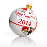 Newspaper happy new year 2014 ball. On white background Royalty Free Stock Photos