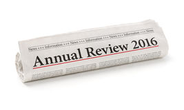 Newspaper with the headline Annual review 2016 Stock Image