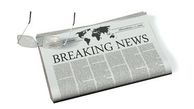 Newspaper with the headline breaking news Royalty Free Stock Photos