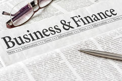 Newspaper with the headline Business and Finance Royalty Free Stock Image