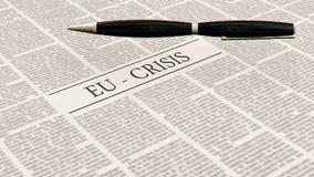 Newspaper with the headline eu crisis Royalty Free Stock Image