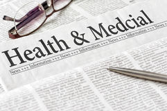 Newspaper with the headline Health and Medical Stock Photography