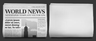 Free Newspaper Headline Mockup. Business News Tabloid Folded In Half, Financial Newspapers Title Page And Daily Journal Royalty Free Stock Image - 140988076