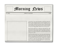 Newspaper headline and photo template. Newspaper's front page template with white space to put customized title and picture into Royalty Free Stock Photo