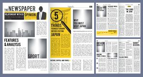 Newspaper headline. Press layout template of newspaper cover and pages with articles vector design. Newspaper finance and breaking news, daily publication vector illustration