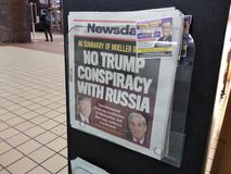 Newspaper Headline Regarding the Mueller Report Release, NYC, NY, USA. The recently released Mueller report is front page news at this newsstand in Port stock photos