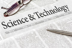 Newspaper with the headline Science and Technology royalty free stock photography