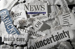 Newspaper headlines. Various newspaper headlines showing economic concepts Stock Photography