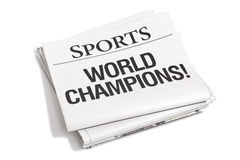 Newspaper Headlines Sports section. Sports section of a newspaper with the headline World Champions royalty free stock photography