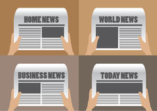 Newspaper Headlines Vector Illustration. Hands holding newspaper with different section titles and headlines. Set of four vector cartoon illustration isolated on Royalty Free Stock Image