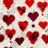 Newspaper hearts background. Imitation of newspaper background with the hearts of blobs. Seamless pattern Stock Photos