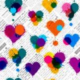 Newspaper hearts background. Imitation of newspaper background with the hearts of blobs. Seamless pattern Royalty Free Stock Photo