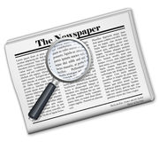 Newspaper icon. With magnifying icon. EPS10  included in additional format Royalty Free Stock Photo