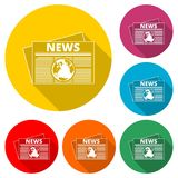 Newspaper icon, News icon, color icon with long shadow. Simple icons set Royalty Free Stock Images