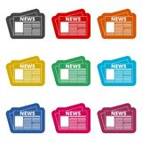 Newspaper icon, News icon, color icons set. Simple vector icon Stock Images