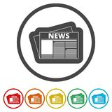 Newspaper icon, News icon, 6 Colors Included. Simple  icons set Royalty Free Stock Images