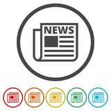 Newspaper icon, News icon, 6 Colors Included. Simple vector icons set Stock Photo