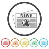 Newspaper icon, News icon, 6 Colors Included. Simple vector icons set Stock Photography