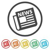 Newspaper icon, News icon, 6 Colors Included. Simple vector icons set Stock Photos