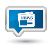 Newspaper icon prime blue banner button Stock Image