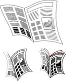 Newspaper icon. Newspaper reading, black and white newspaper icon stock image