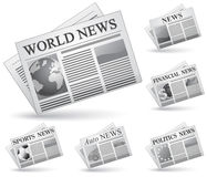 Newspaper icon set Royalty Free Stock Image