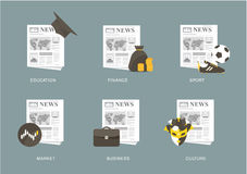 Newspaper icon set Stock Photos