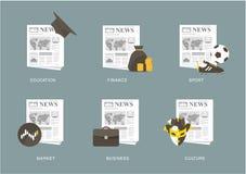 Newspaper icon set Stock Photos