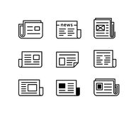 Newspaper icon set. Newspaper icons. Icon set for news agency and online publish media websites. Vector illustration Stock Images