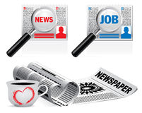 Newspaper icon set on white background Stock Photo