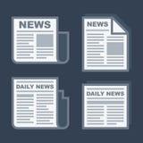 Newspaper Icons Set on Dark Background. Vector Stock Photo