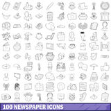 100 newspaper icons set, outline style Royalty Free Stock Photos