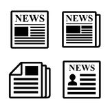 Newspaper icons set. Stock Photos